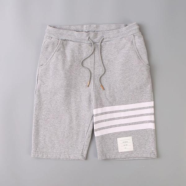 top popular mens designer summer shorts pants 18SS thom Beach Three white stripes Off Men browne Leisure pants White for Summer 2019