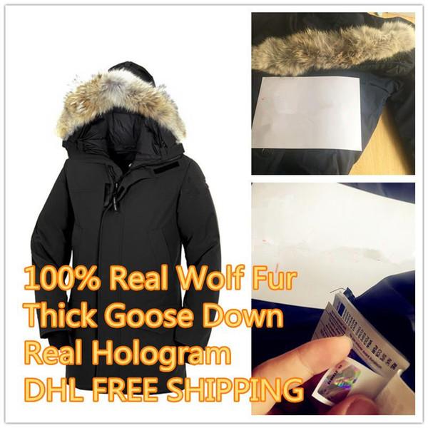 Piumino Langford Parka da uomo in vera pelliccia di lupo Parka Inverno Caldo Piumino spesso Cappotti con cappuccio in pelliccia Piumini Piumini di alta qualità