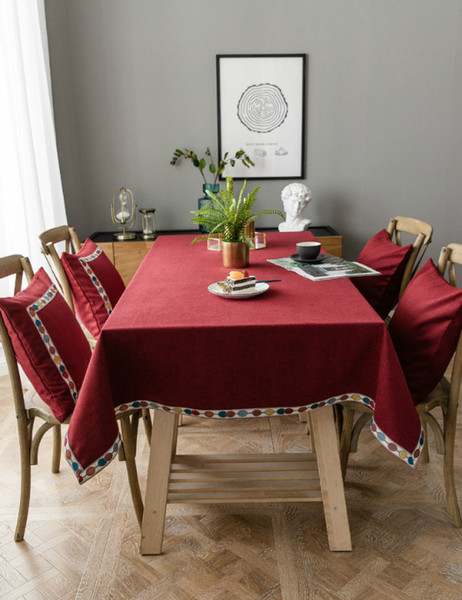 Ins Hot Table Cloth Bohemia Vintage Red Table Cloths Cotton Chic Table Cloths for Home Decor Free Shipping