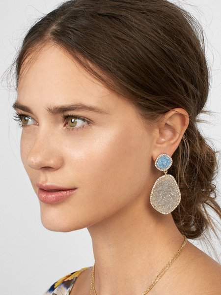 European and American big name earrings alloy crystal tooth resin block drill irregular pendant female earrings foreign trade source