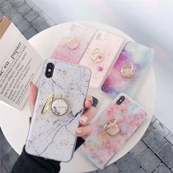 Gold powder marble cute phone ca e for iphone x max xr 6 6 7 8 plu x x oft epoxy back cover with finger ring gift