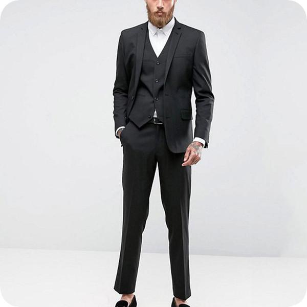 Acheter Personnalisé Noir Hommes Costumes Formel Business Blazers Masculins  Dernières Manteau Pantalon DesignsMan Outfit 3 Pièces Slim Fit Marié