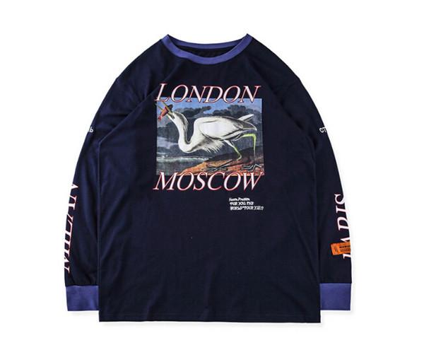 Mode Hommes Bleu Casual Shirt Streetwear Lettre Imprimé Hip Hop Manches Longues Hommes T-shirts S-XL