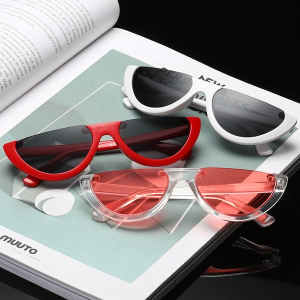 Vintage Fashion Cat Eye Semi Rimless Sunglasses Women Brand Designer Half Frame Ladies Personality Sun Glasses Eyewear UV400