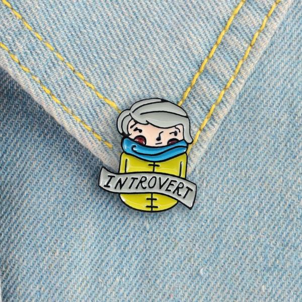 Интроверт лацкан Pin носить шарф интроверт мальчик эмаль pin почему иногда дома это самое забавное место, чтобы быть