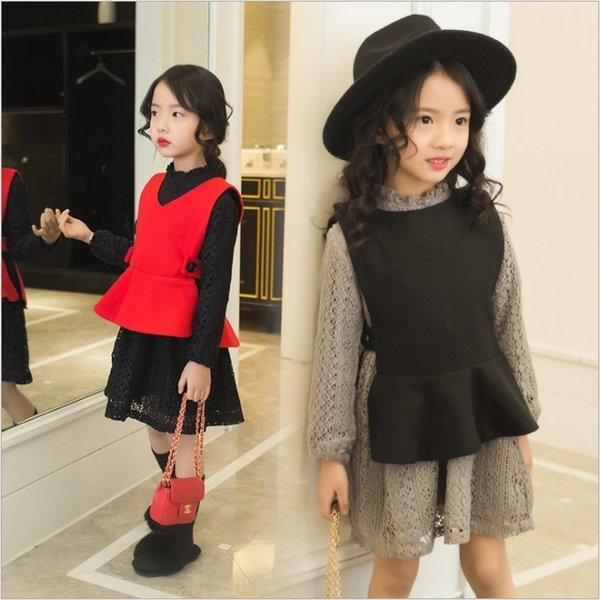2 pieces girls clothing set for teenage girls 12 years old 2019 spring new vest+lace dress fashion cute clothes girls dress set