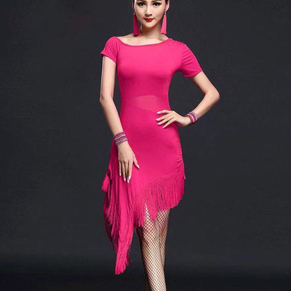 New Style Latin Dance Costume Spandex Fringe Latin Dance Dress For Women Competition Dresses M-3XL