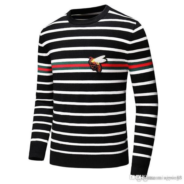 2019 Otoño Nueva marca de moda informal suéter del O-Cuello enfriar Lobo rayas Slim Fit de tejer suéteres para hombre y jerseys hombres Suéteres Hombres D46