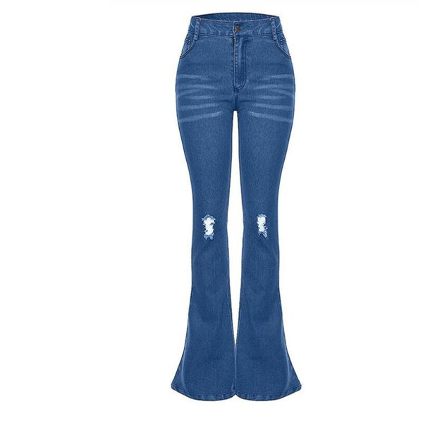 Long High Waisted Flare Jeans For Women Stretch Knee Ripped Slim Bootcut Jeans Retro Wide Leg Woman Elastic Denim Pants
