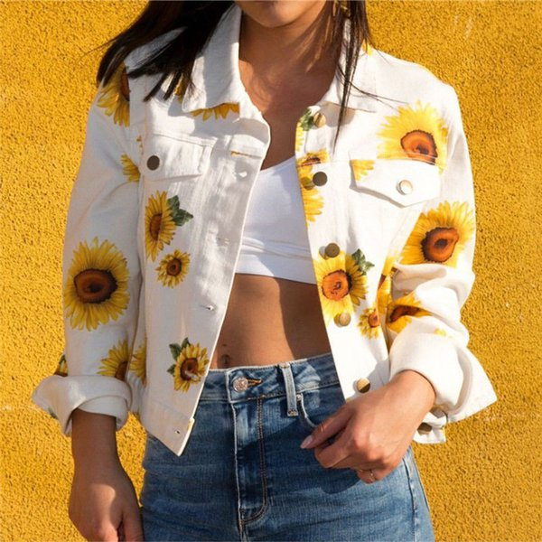 Fashion Women Button Front Jacket Long Sleeve Jackets Daisy Graphic Denim Bomber Jacket Coat Polyester Casual Outerwear Coat