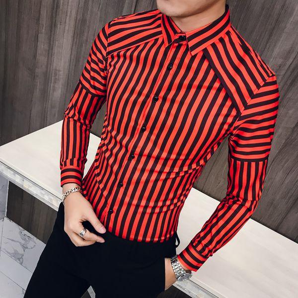 Nouveau 2019 Hommes Chemises À Manches Longues Homme Rayé Classique-fit Confort Casual Chemise À Boutons Casual Chemise Homme Tops Vêtements