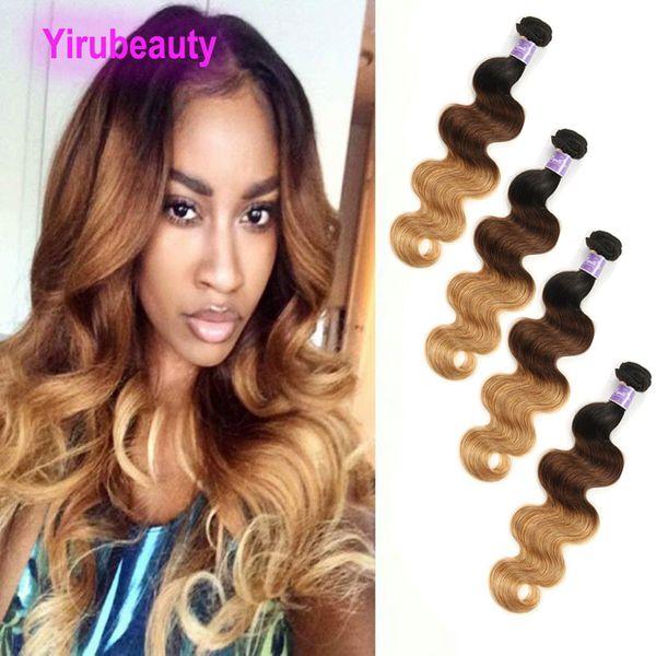 Virgin Raw indiana Pêlos Wave 4 Pacotes 100% cabelo humano 1B / 4/27 Três tons de cor 1b 4 27 cabelo tramas onda do corpo Cheap