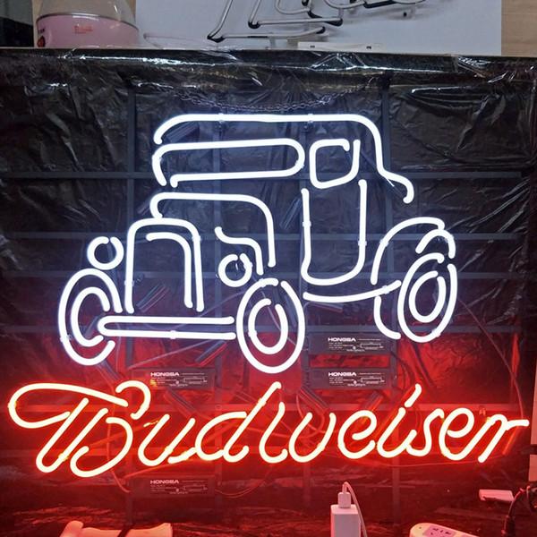 Car & Budweiser LED Neon Sign Light Custom Outdoor Bar Club Display Entertainment Decoration Neon Lamp Light Metal Frame 17'' 20'' 24'' 30''