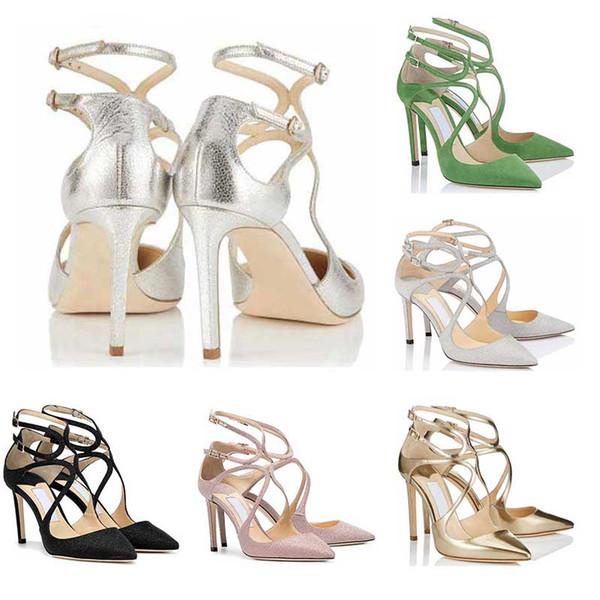 2019 designer de mulheres da menina de salto alto Lancer Moda de Luxo 8 10 12 CM Vestido de Festa de Casamento Sapatos De Cristal Do Casamento tamanho 36-42 Com caixa