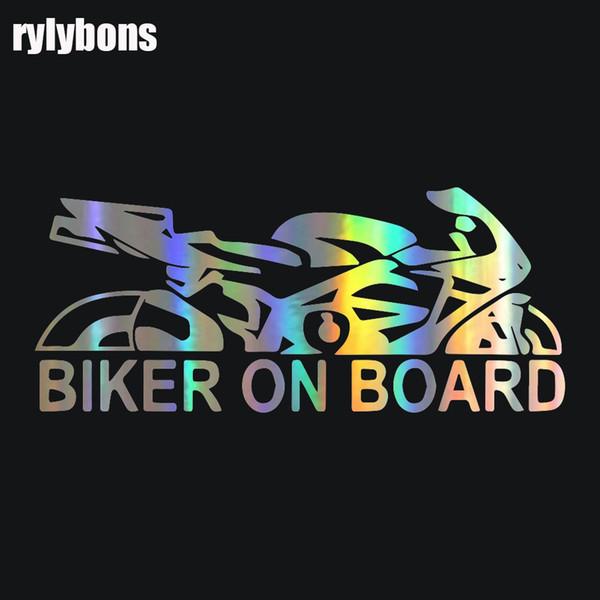 Rylybons 1 PCS 17.9*7.6cm Car Sticker Biker on Board Wall Home Glass Window Door Laptop Auto Truck Bumper Van Vinyl Decal Decor