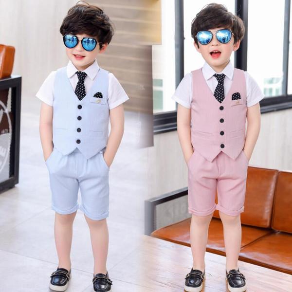 Suit for School Kids Flower Boys Birthday Party Tuxedo Formal Vest+White shirt tie+ Pants Children Piano Prom Performance Costu