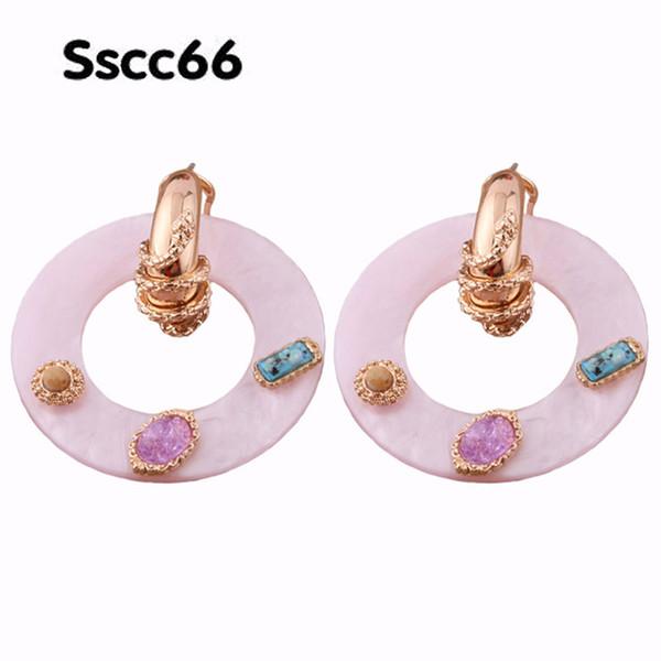 Brandjewelryyy Solid Color Natural Shell Color Stone Zinc Alloy Accessories Copper Ear Hook Pendant Long Fashion Earrings