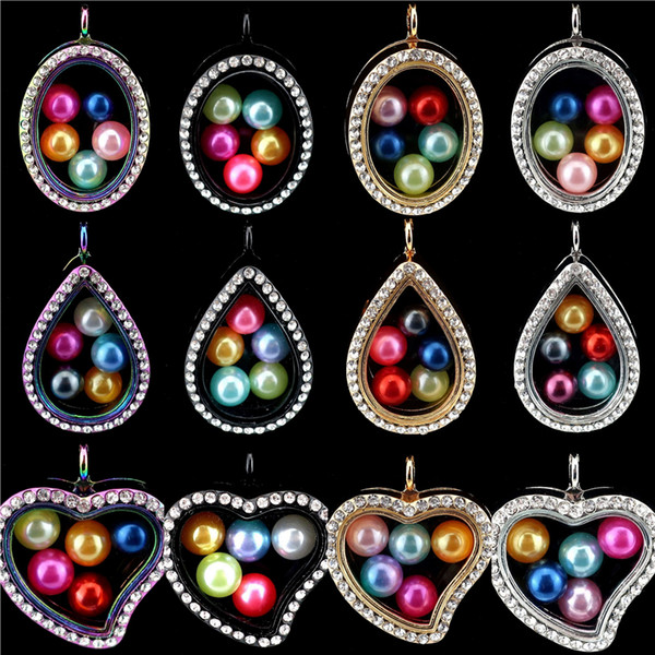 Rhinestone Pendant Glass Memory Locket Teardrop Heart Pearl Cage Pendant for 8mm Pearl (Mixed color)