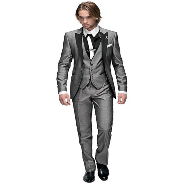 Made Groom Tuxedos Light Grey Peak Black Lapel Best man Groomsman Men Wedding Suits Prom/Form/Bridegroom(Jacket+Pants+Tie+Vest)