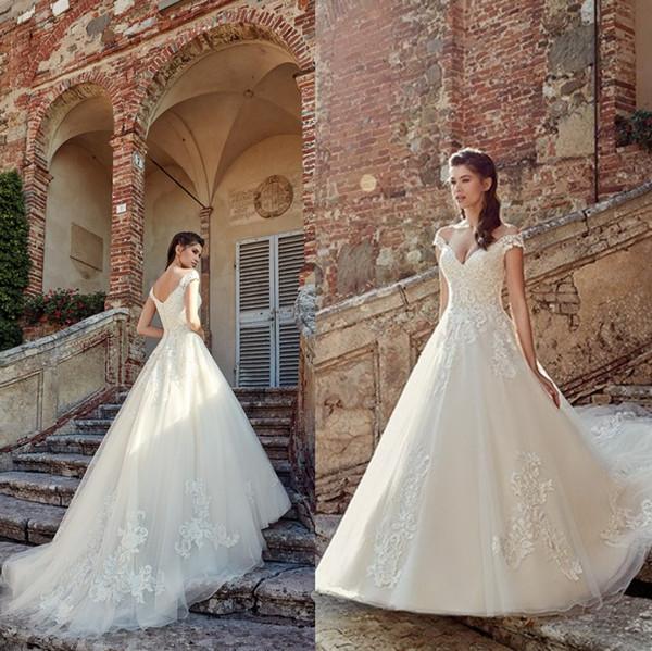 Magníficos vestidos de novia de encaje 2019 Sexy fuera del hombro con cuello en V apliques hasta el suelo vestido de novia vestidos de novia vestido de novia BC1185