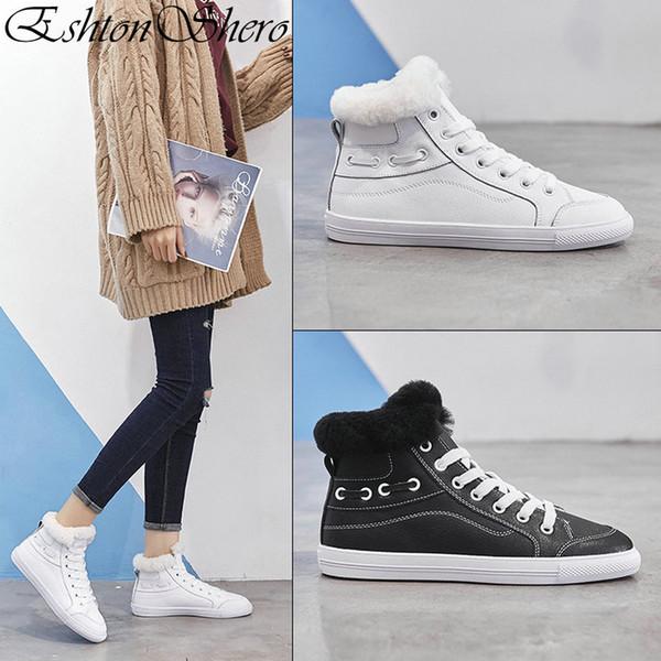 EshtonShero Inverno das Mulheres Sapatos Brancos de Couro Genuíno Rendas  Até Sapatos de Salto Plana Dedo 358db841ac9