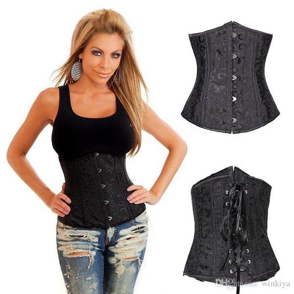 Черная готическая атласная вышивка Стальной корсет Underbust женское бельё на шнуровке в стиле ретро Корсеты и бюстье + стринги S M L XL XXL