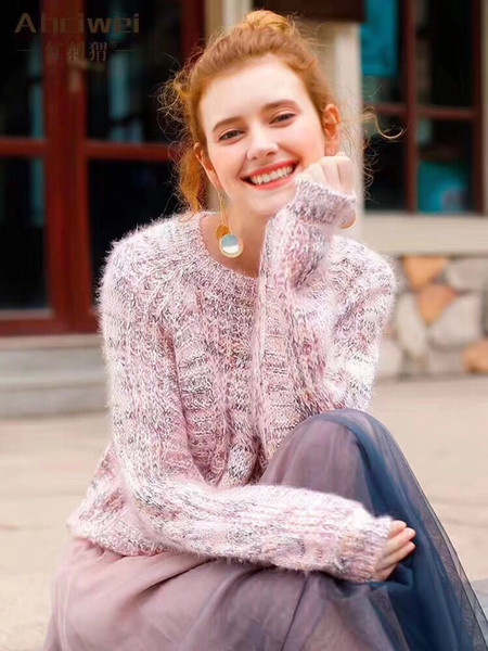 woman mohair fluffy sweater jumper kawaii preppy style cable knit wool set head 2019 new korean style casual sweaters cute puff sleeve