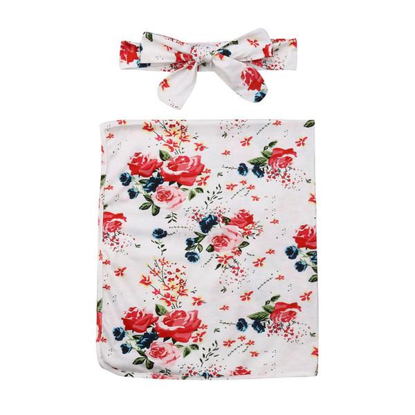 Cute Newborn Baby Unisex Floral Print Swaddle Blanket Sleeping Swaddle Muslin Wrap+Headband 2Pcs 0-6 Months