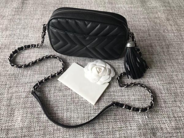 2018 Luxury 7a best quality calfskin camera tassel crossbody bag famous designer women fashion genuine leather shoulder chain bag 19.5cm