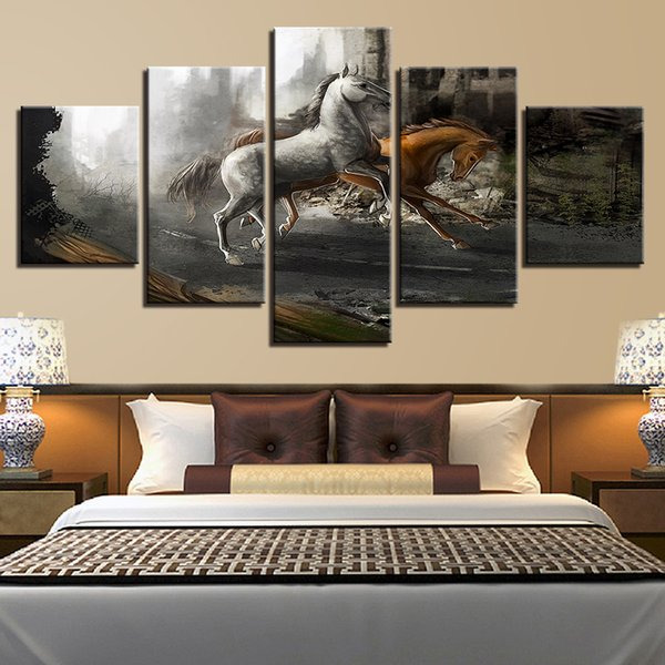 Wall Art Pictures HD Prints Framework 5 Pieces Horses Running Painting Home Decor Modular Living Room Canvas Fantasy Game Poster