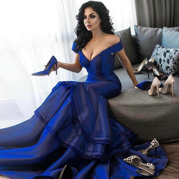 Royal Blue Evening robes longues sirène mancherons col en V étagées femmes élégantes de robes de soirée formelles pour une occasion spéciale 2020