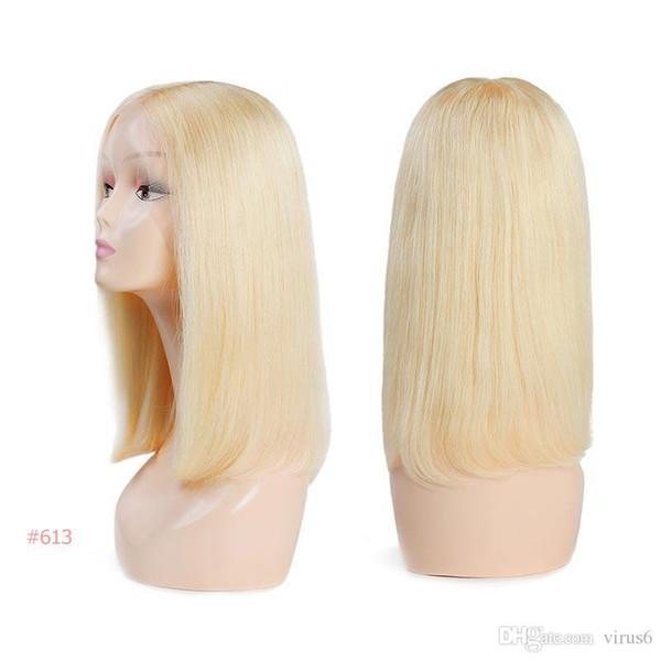 Brasilianische Remy Haarteil Lace Perücken 130% Dichte Mittelteil # 1B / # 613 Kurze Echthaar Perücken Ali Königinhaar Lace Front Perücke