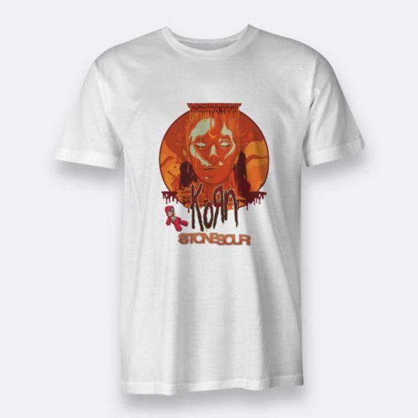 KORN STONE SOUR Branco T-shirt dos homens Tee Tamanho S para XXXL Das Mulheres Dos Homens Unisex Moda tshirt Frete Grátis preto