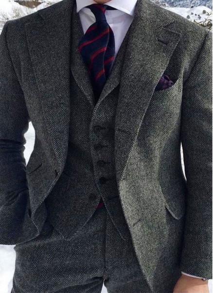 À Gilet Costumes Gris Veste Vintage Custom Porter Chevrons Laine Pièce Made Tweed 3 De Acheter Mélange En Mens Peaky Groom Blinder Pantalon Costume 3FlKJT1c