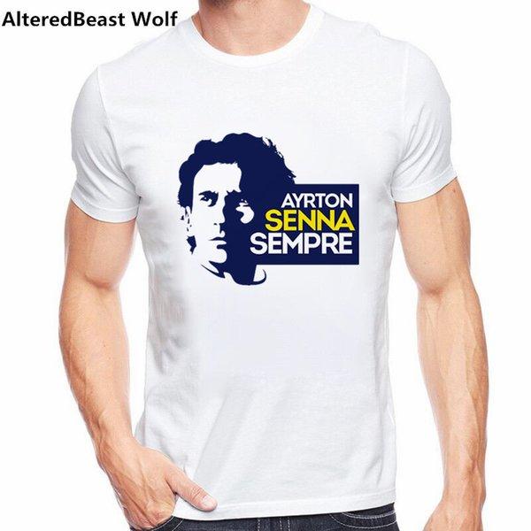 Nuevo diseño único retro Camiseta de los hombres Los fanáticos de los coches Tops Camisetas geniales Mi conductor favorito ayrton senna camiseta impresa 2019
