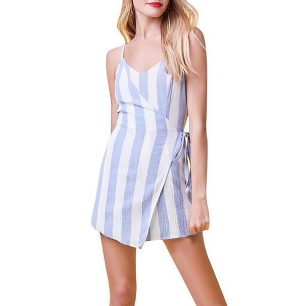Vestido de fiesta sexy de verano de las mujeres de moda más el tamaño de la correa de espagueti a rayas bodycon dress mujeres visten 2019 sin mangas vestidos sueltos