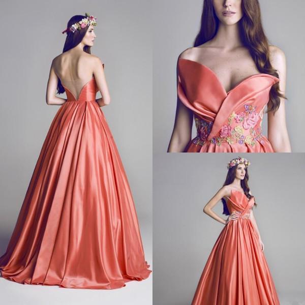 2020 Arabe Une ligne longue robes de bal Nouvelle chérie Broderie Fleur SOIRÉE Robes Robe Robe de Festa