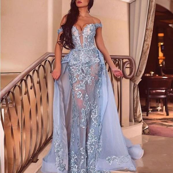 Robes de soirée sexy sirène avec détachable train de l'épaule en dentelle appliqued 2019 robes de bal illusion robe de soirée