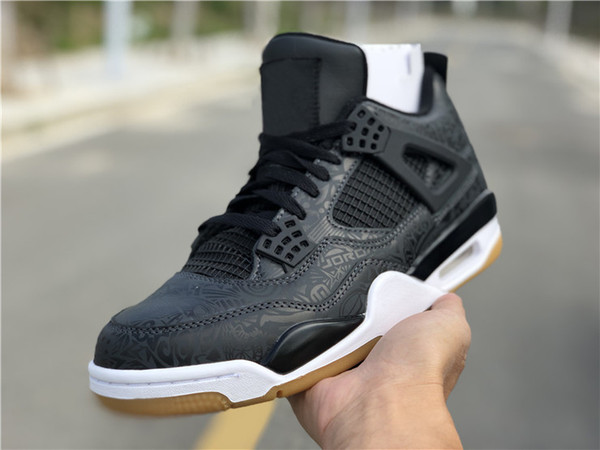 2019 Authentic 4 IV SE Laser Black Gum Basketball Shoes For Man 4s Sports Sneakers Raw Rubber Original Quality CI1184-001 With Orignal Box