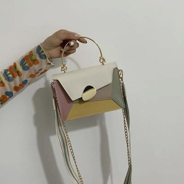 Puimentiua mujeres 's Bolsas Cruzado verde Matcha cadena del cuero del diseño del contraste del color de piel bolso de la tarde viaje simple Bolsas