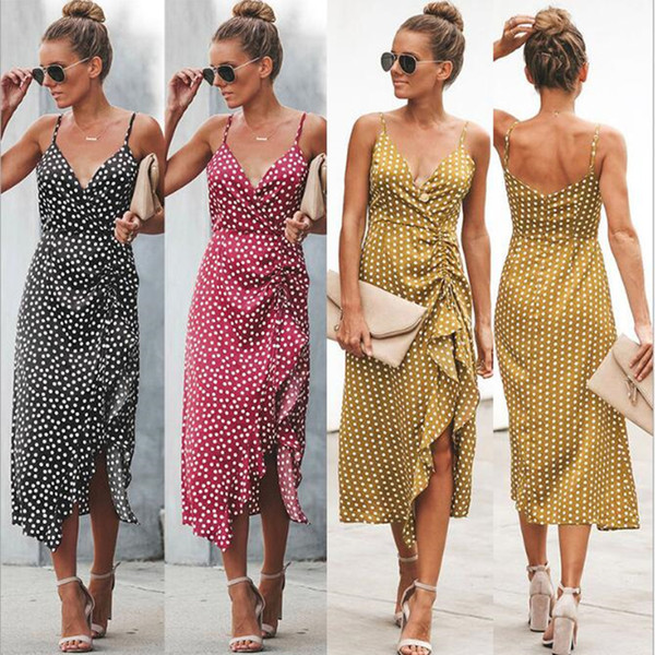 Free mailing of S-2XL high-waist Printed Dress with V-neck and swallow-tail split for women's wear in spring and summer