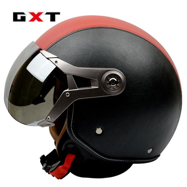 GXT genuine leather vintage retro scooter motorcycle helmet capacete cascos 3/4 open face moto helmets