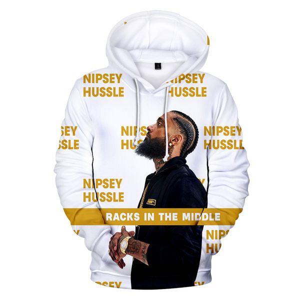 2019 caliente !!! R.I.P NIPSEY HUSSLE 3D Print Streetwear Hip Hop Hombres Sudaderas con capucha Mujeres Hombres Manga larga Harajuku Ropa Abrigo A427