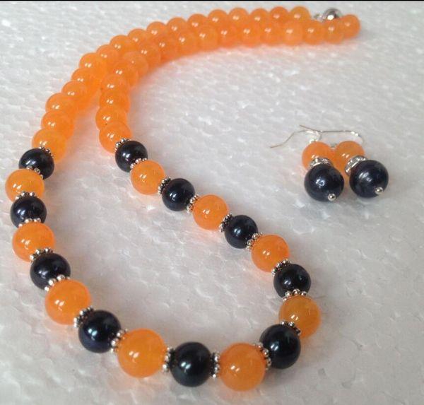jewelry free 07866 Natural Black Akoya Cultured Pearl/Orange Jade necklace earrings set