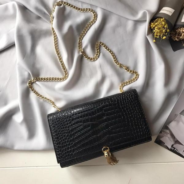 Nuevo diseñador bolsos de lujo monederos de piel de vaca a rayas de cocodrilo borlas doradas cadena bandolera bolso de hombro de marca de alta calidad para mujer