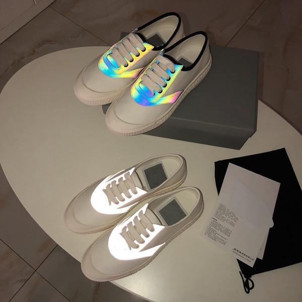 Designer 3M réfléchissante Plate-forme chaussures rouge blanc noir en cuir Casual chaussures pour fille femmes hommes or vert plat chaussures taille 35-40 om19050402
