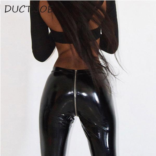 Ductjoe 2 colores Leggins para mujeres Sexy Hip Push Up cuero de cintura alta de las mujeres Leggins alta calidad Casual Sexy Leggings primavera SH190628