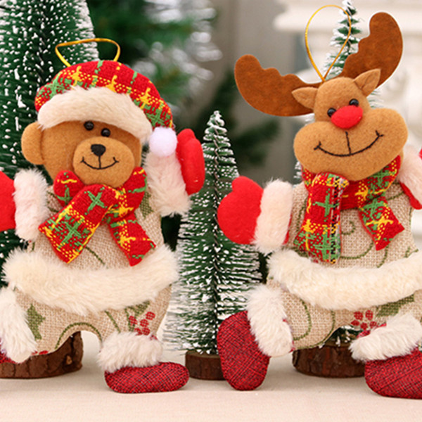 1PC 2018 Merry christmas ornaments christmas Gift Santa Claus Snowman Tree Toy Doll Hang Decorations for home Enfeites De Natal