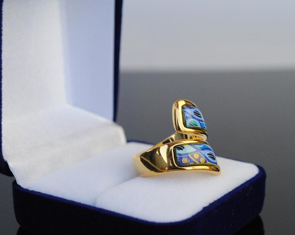 Sea blue heart Series rings 18K gold-plated enamel double curved ring Top quality ring for women band rings for gift designer jewelry