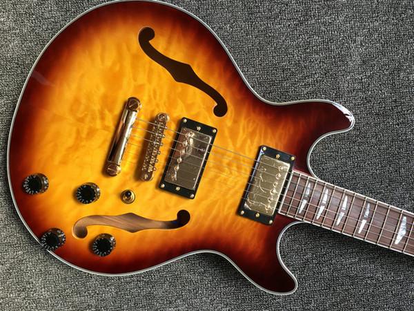 Jazz semi-hollow body electric guitar, transparent sunburst maple fill, gold hardware, 339 high quality jazz guitar